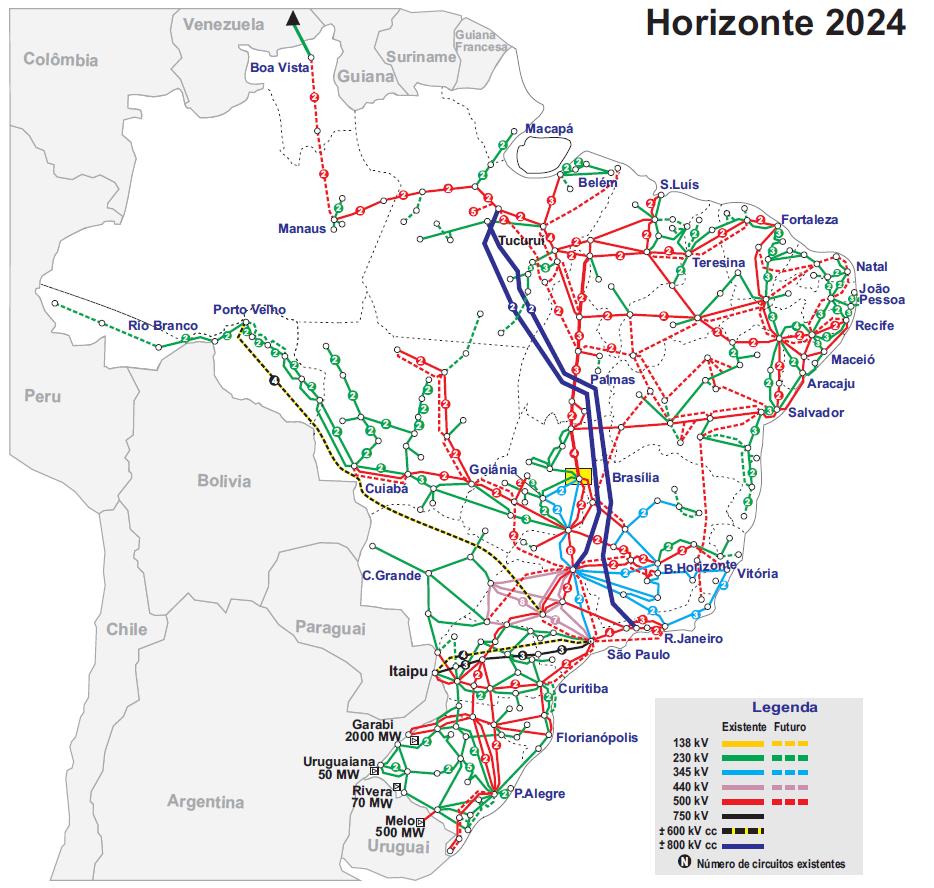Mapa do sistema de transmissão - Horizonte 2024